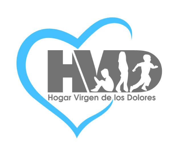 Logo Hogar Virgen de los Dolores. Niños corriendo y leyendo.
